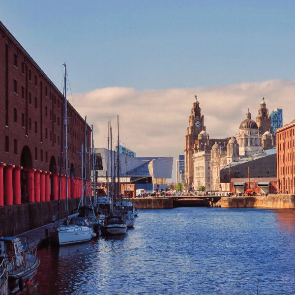 Liverpool waterfront in sunny weather