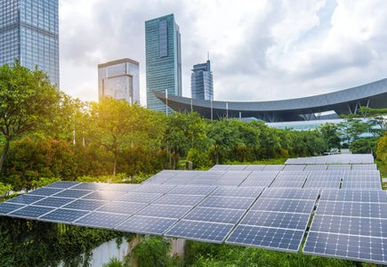 Eco urban developments with greenery and solar panels