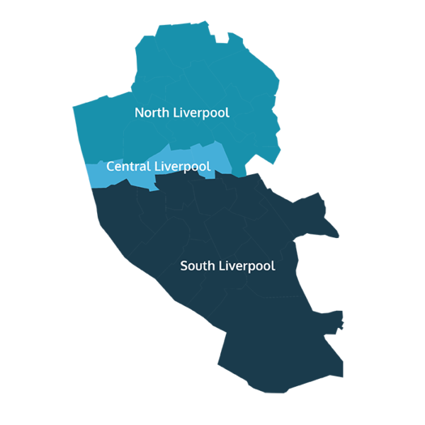 Liverpool map - North, Central and South Liverpool