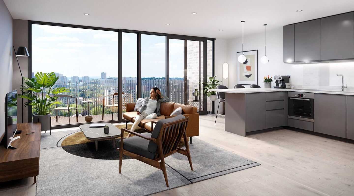 Fifty5ive - Living Room and Kitchen